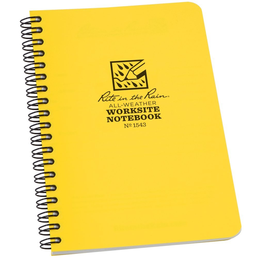 """Rite in the Rain All-Weather Worksite Side-Spiral Notebook, 4 5/8"""" x 7"""" Yellow Cover, Worksite Universal Pattern (No. 1543)"""