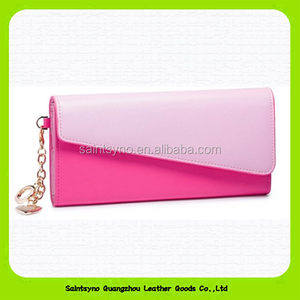 15430 Popular genuine leather clutch purse for lady with 2 long compartments for cash/phone