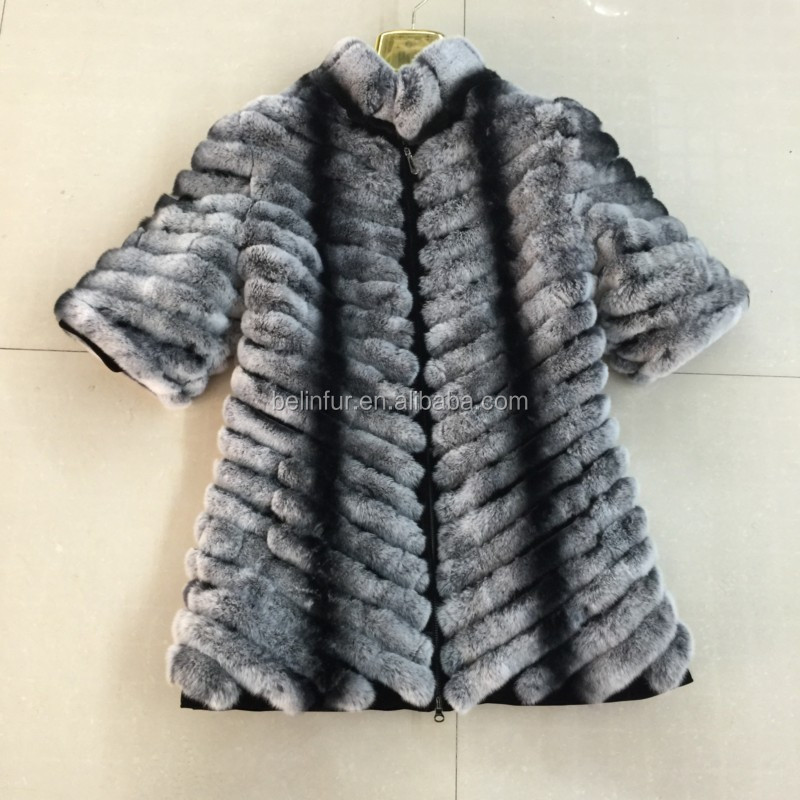 korean style women chinchilla rex fur coat