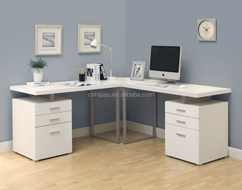 White Monarch Specialties 3 Piece Hollow Core L Shape Home Office Desk Set