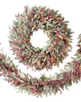 25cm natural wood christmas red berry pinecone wreath