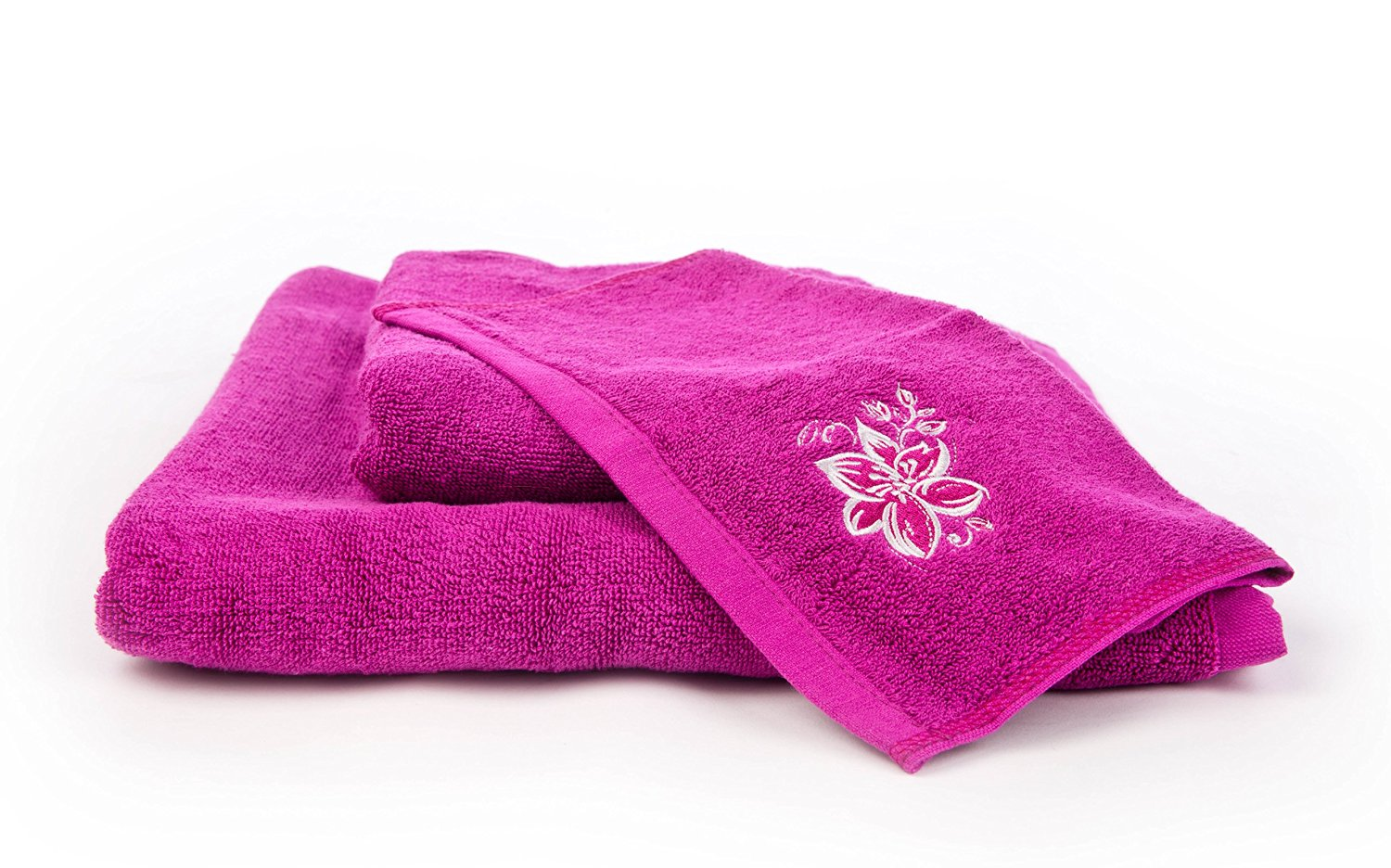 3 Piece Embroidered Cotton Towel Bale set 500GSM Cotton with Bath Hand and Face Towel (Fushia Floral)