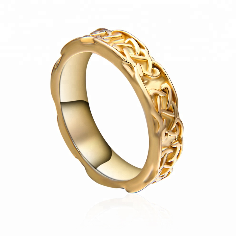 Daihe European and American simple engraved 18K gold copper <strong>ring</strong> for lover