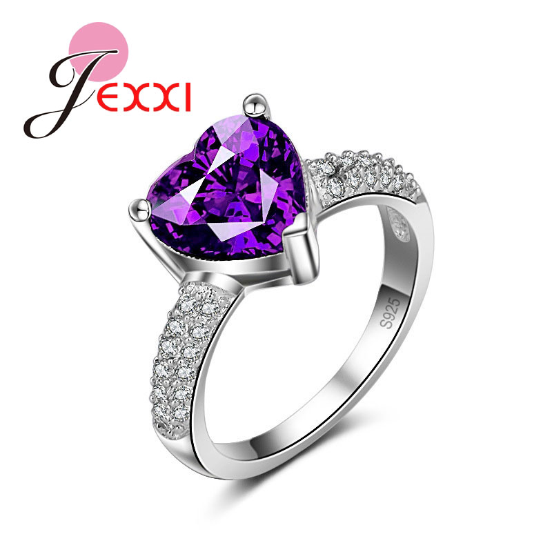 Pretty Purple Love Heart Design Girl Engagement Wedding