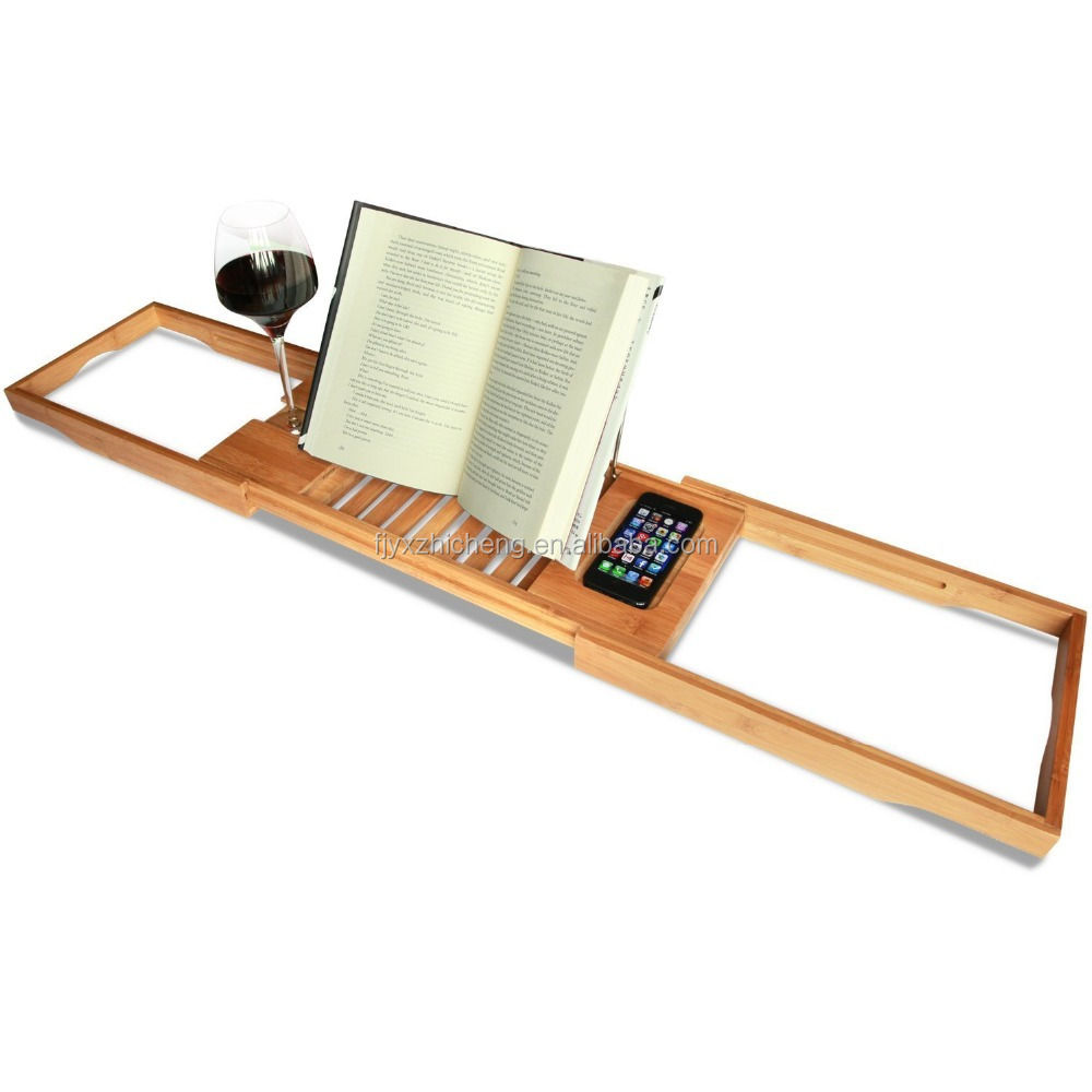 Bamboo Bathtub Caddy With Extending Sides And Adjustable Book Holder ...