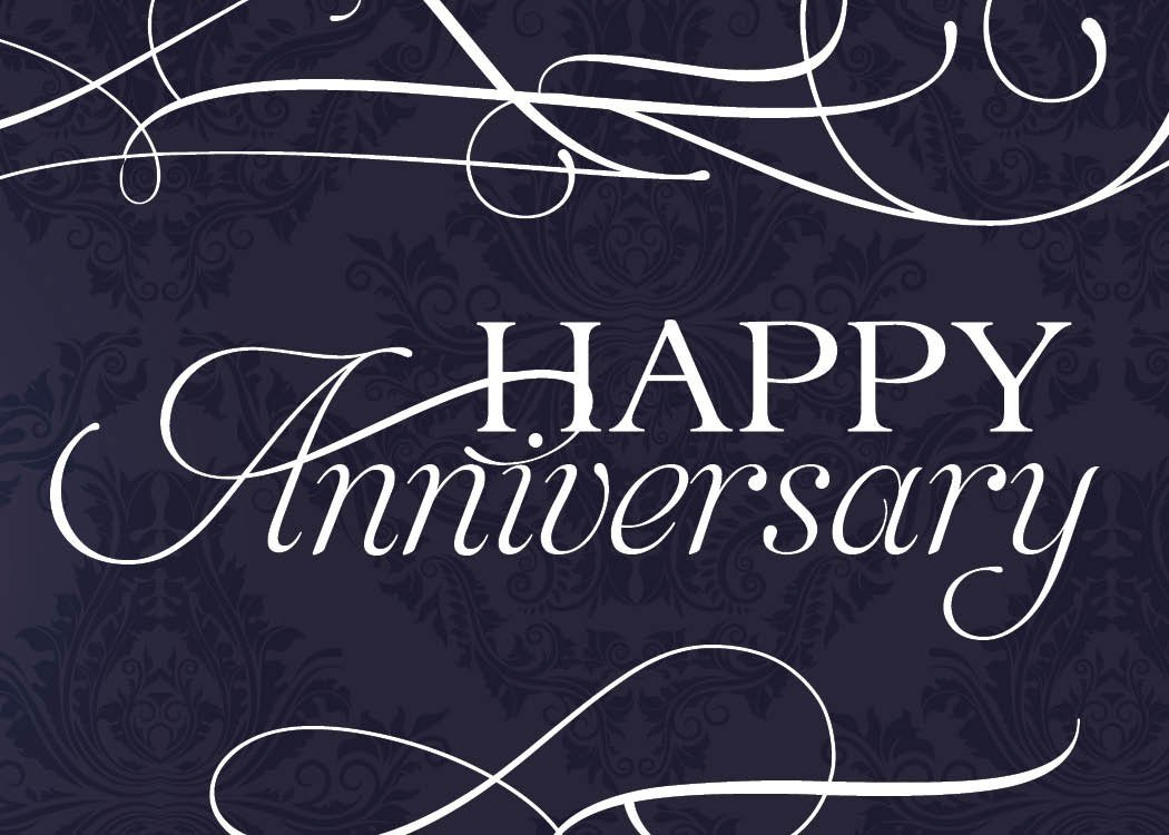Anniversary Greeting Cards - A1701. Business Greeting Card Featuring Happy Anniversary with Script Designs on a Navy and Floral Background. Box Set Has 25 Greeting Cards and 26 Bright White Envelopes.
