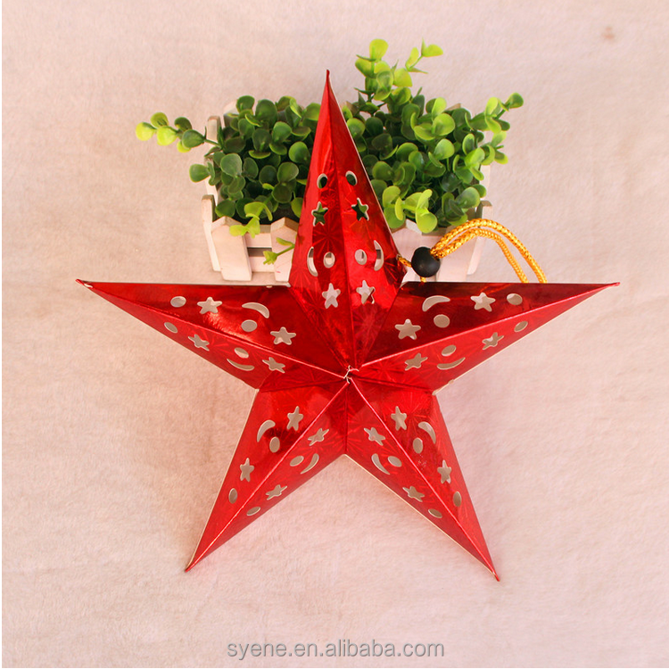 New Hottest Christmas Ornament outdoor/indoor Hanging Christmas Decorations Handmade Paper Five-pointed Star