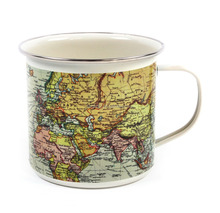 World Map enamel tin coffee cup with OEM Design and ss rim for gift