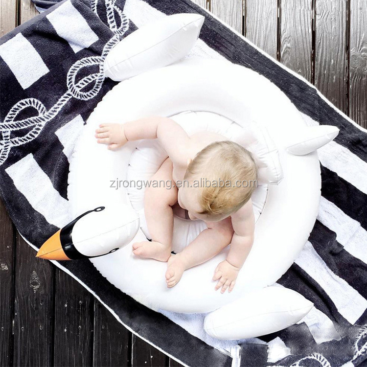 Inflatable white swan baby seat swim ring summer outdoor swimming pool ring for baby