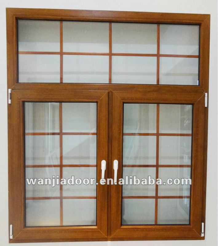 Wood Color Coated French Window Grill Design Wj Pcw 1516
