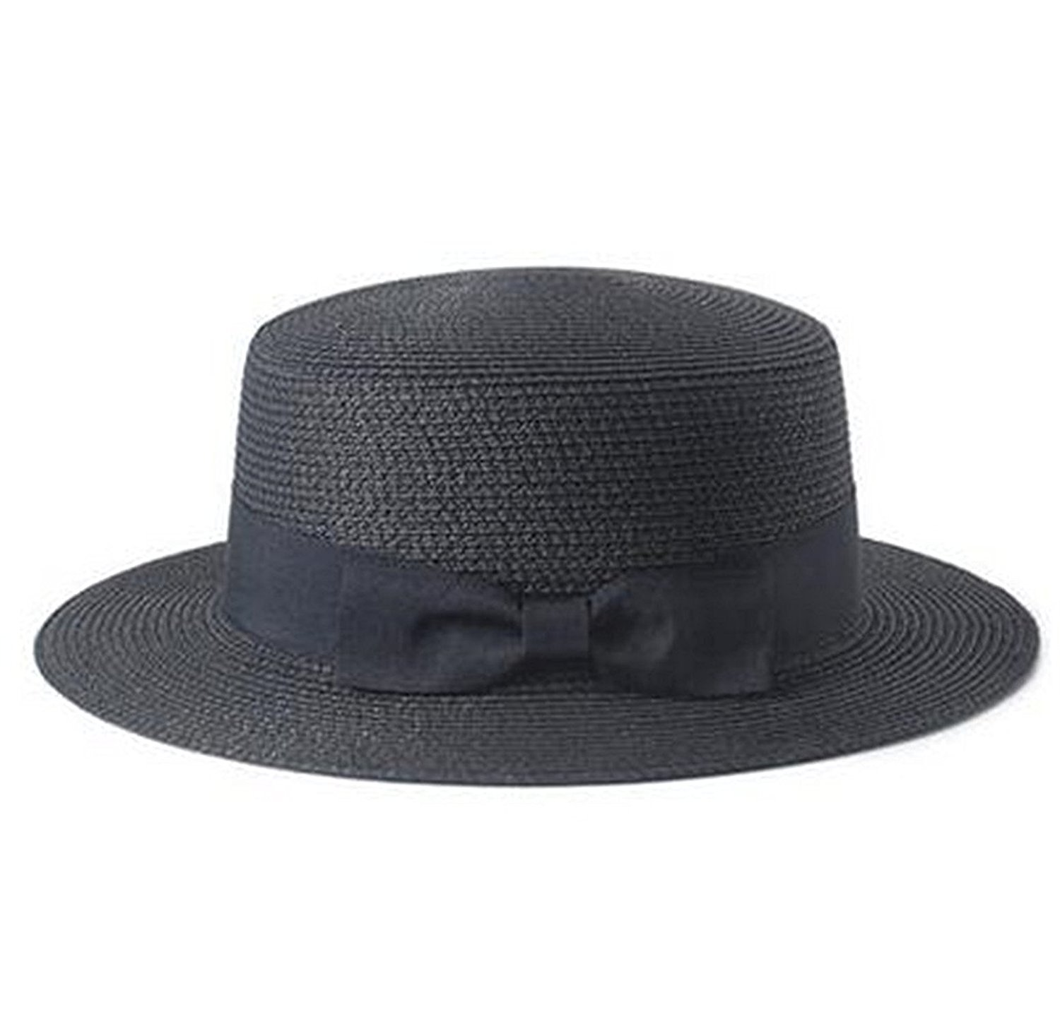 011afc7eeac Get Quotations · Mainstream Sun Straw Hat boater hat Women s bow summer Hats  For Women Beach flat straw hat