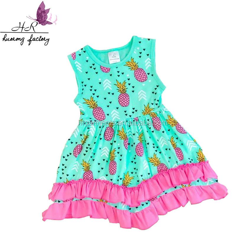 316f1b144c5f3 Yeni Model Yüksek Kaliteli Çocuk Özel Giyim Çocuk Kız Için Ananas Baskılı  Elbise Yaz