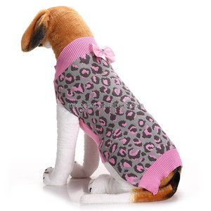 RoblionPet Pink Leopard Bowknot Beautiful Xxxl Dogs Pet Sweater For Pet Dogs