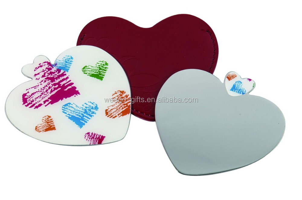 2015 stainless steel Heart Shape Cosmetic handheld Mirror with pu pocket