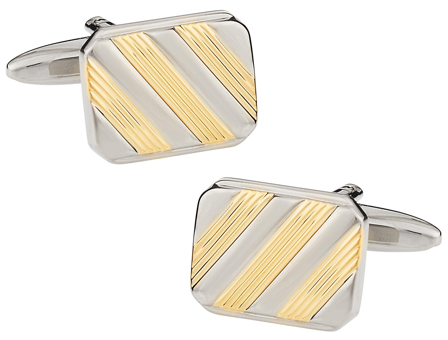 Cuff-Daddy Striped Two-Tone Silver Gold-Tone Cufflinks with Presentation Box