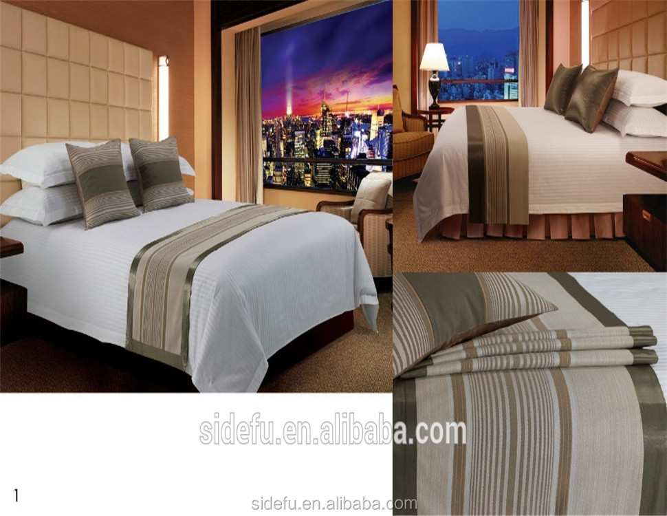 Wholesale 100% Polyester Luxury Hotel King Size Bed Runner