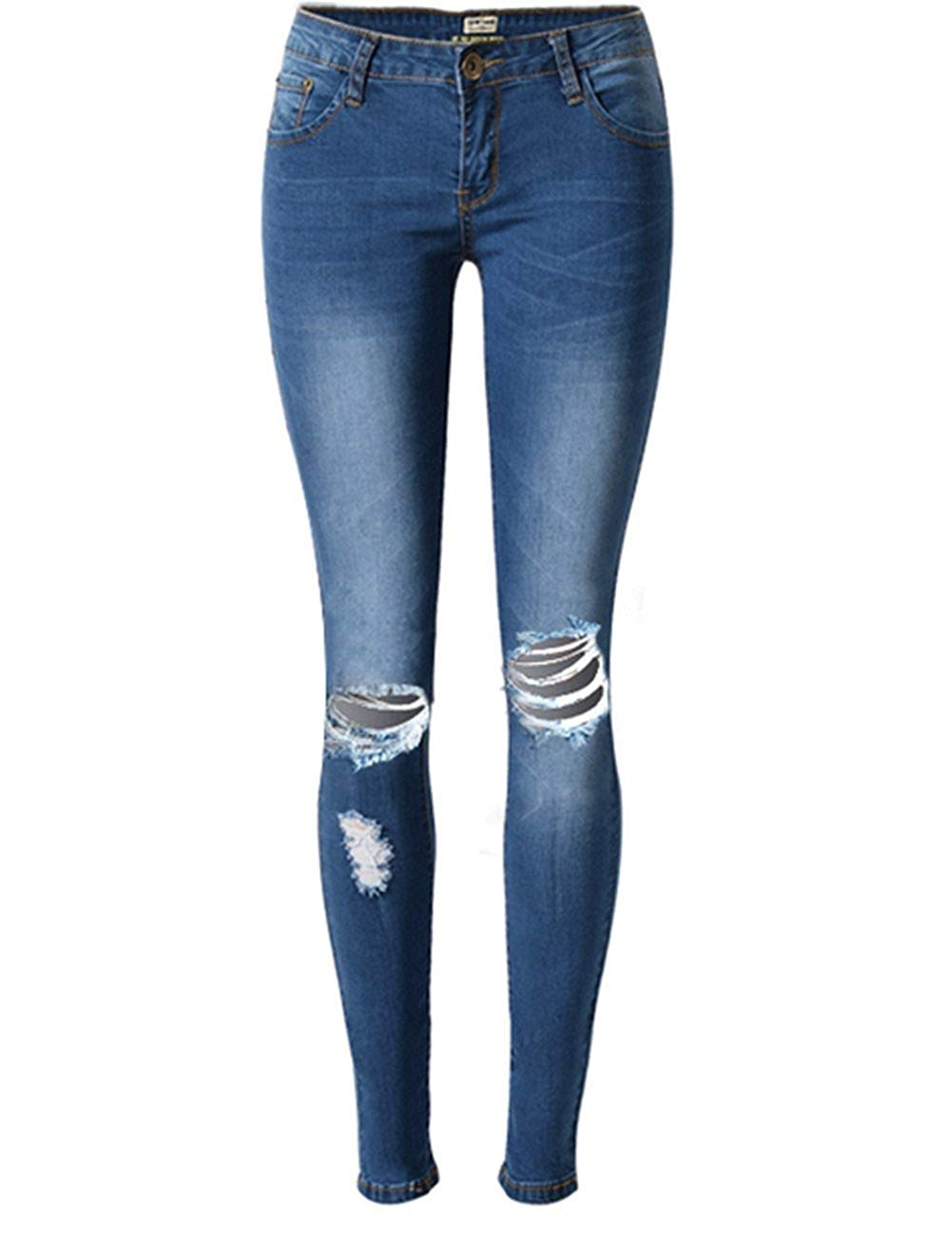 Sexy Women Girl Destroyed Boyfriend Hole Jeans Ripped Washed Cuff Denim Trousers