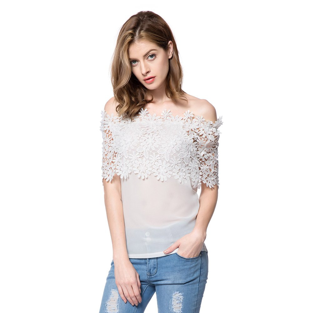 fashion style ladies white off the shoulder tops short sleeve cut out wholesale blouse
