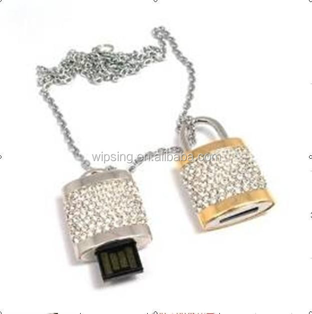 promotional jewelery lock USB memory drive/ crystal USB stick