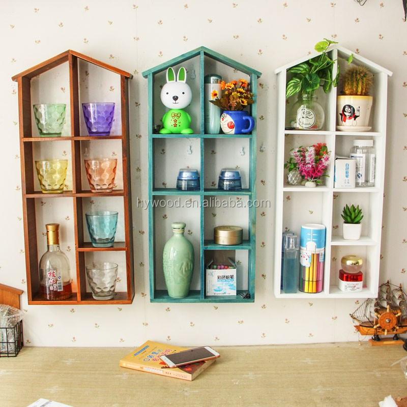 Modern decorative wall hanging mounted wood shelves degign home house shape w - Etagere suspendu au plafond ...