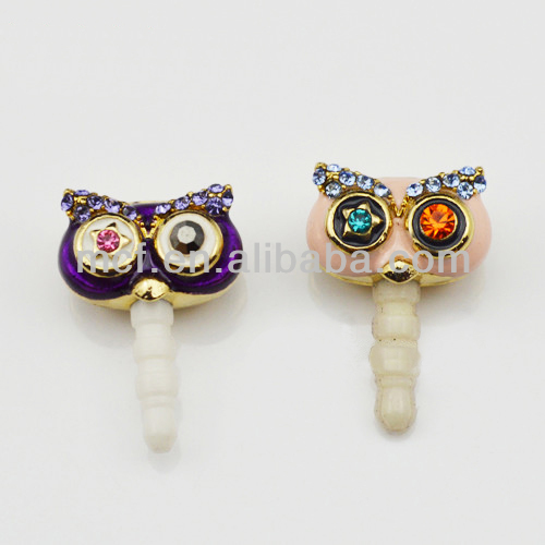 wholesale owl earphone jack dust cap plug/iphone dust plug for phone MCD-0084