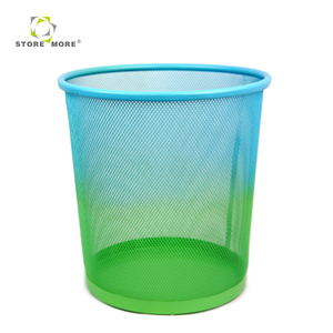 Fashion Colored Metal office Wire Mesh Round Trash Can/Waste Bin/Waste Paper Basket