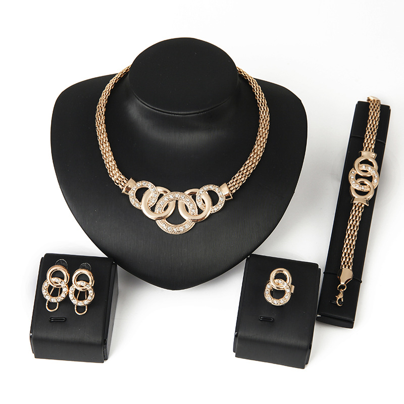 CS00259 JN wholesale african bride gold jewelry sets earrings necklace bracelet women gift