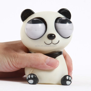 Hot Panda Shaped Big Eye squeezeToys/Make Custom Animals Big Eye PVC Squeeze Toy/OEM PVC Pop Eye squeeze Vinyl Toys factory