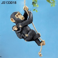 Garden hanging statues resin animal hanging rope jungle monkey
