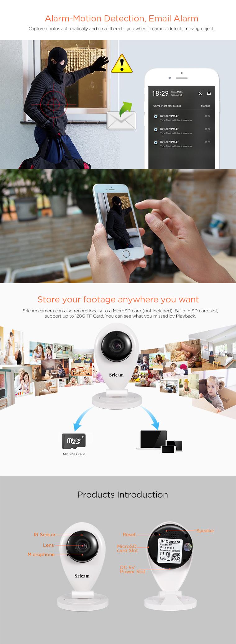 Sricam Smart Wifi/wireless Infrared Mini Night Vision IP Camera With Speaker for smart home CCTV Camera