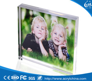 New acrylic photo frame glass block with water and glitter clear 6x8 acrylic photo frame