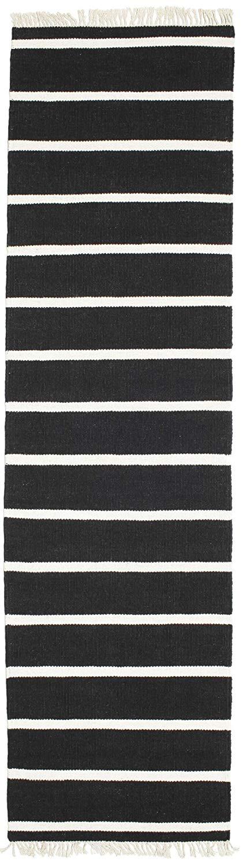 """Dhurrie Stripe - Black / White rug 2'7""""x9'10"""" (80x300 cm) Modern, Runner Carpet"""