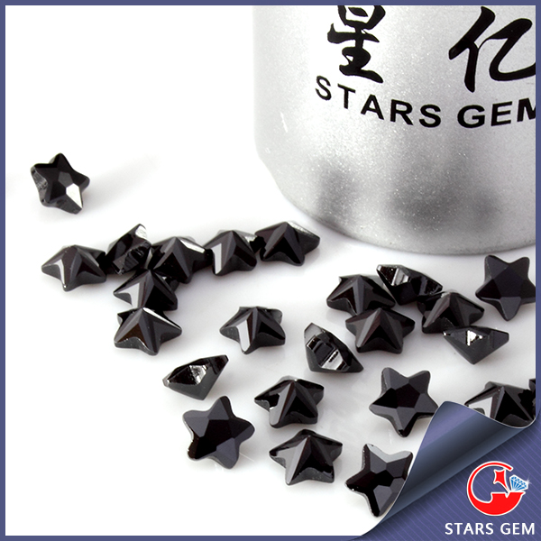 AAAAA grade star shape black CZ gem stone