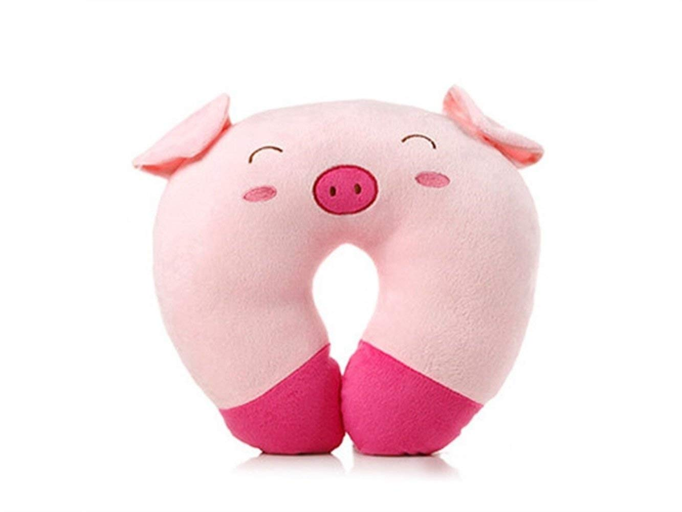 Yuchoi Perfectly Shaped Cartoon Animal U-shaped Neck Pillow Travel Car Airplane Seat Neck Rest for Home Office(Pink Pig)