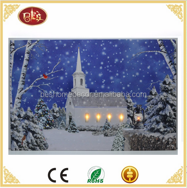 Christmas winter scene church lighted canvas pictures lighted LED pictures