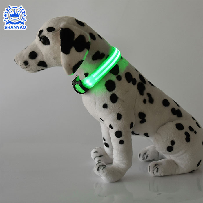USB rechargeable LED Flashing PVC tube dog collar for waterproof night safety outdoor walking