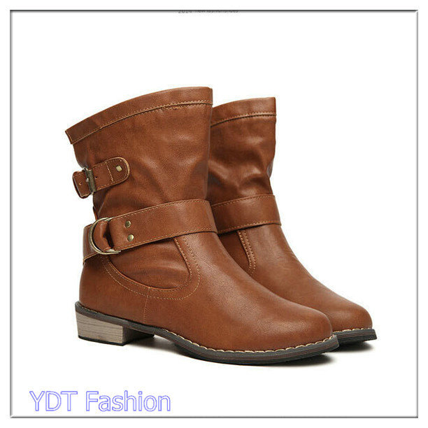 2015 Fashion Women Boots Warm Autumn Mid-Calf Boots With Buckle Casual Korea Style Platform Boots Free Shipping B62