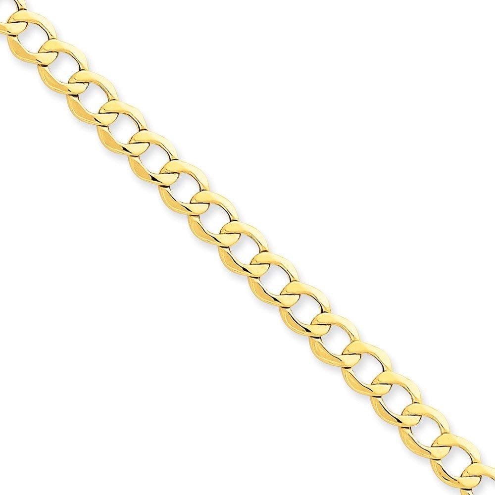 14k Yellow Gold 6.5mm Semi-Solid Cuban Curb Link Chain Necklace - with Secure Lobster Lock Clasp