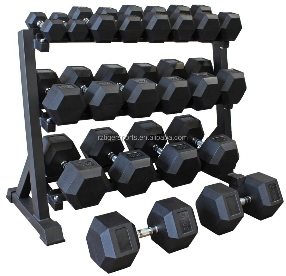 Factory wholesale gym equipment black rubber coated hex dumbbell set