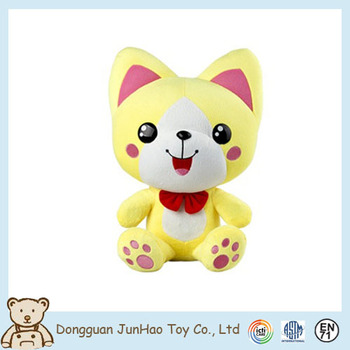 customized animated plush cat cute yellow china exported cat toys