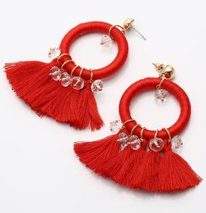 Rhinestone Black Red Cotton Thread Tassel Cotton Thread knit Hoop Earring
