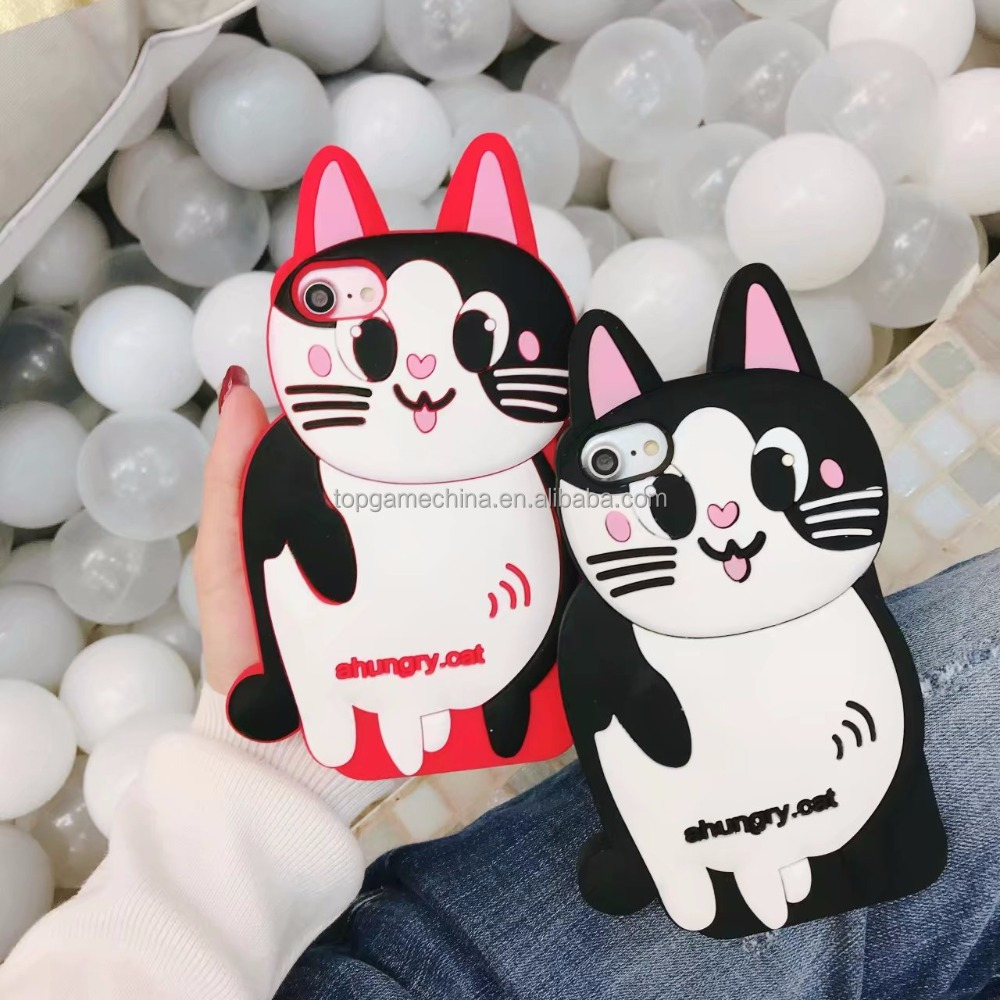 White Cat Silicone Coque Cover For iPhone 6 6s 7 8 8plus X silicon phone case