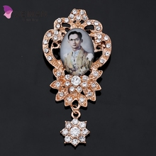 New arrival Memorial black rhinestone Cameo pendant brooches King of mourning brooch for Thailand