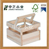 gift solid wood natural color handle cheap unfinished small wooden crates for fruit