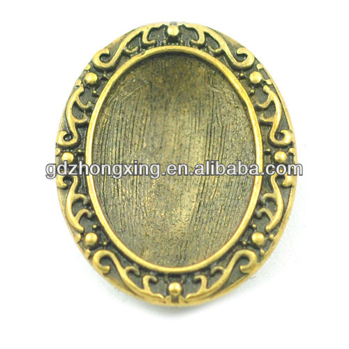 Zinc Alloy Antique Bronze Trays Bezels For 22*17mm Cabochons Setting Pendant Findings Jewelry