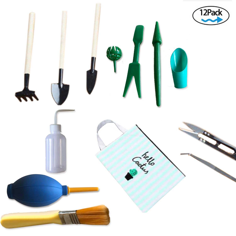 RealTX Bonsai Tools Set,Succulent Gardening Tools Set Kit- Include Pruner,Bonsai Pruning Scissors,Mini Rake,Bud & Leaf Trimmer Set, Bonsai Tree Growing & Transplanting Planting Gardening Tools
