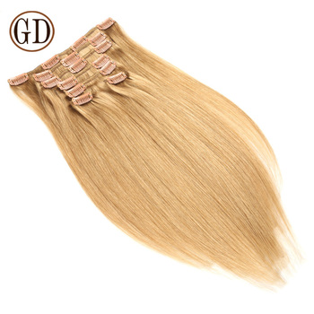 quality no tangle 100% remy human clip in hair extensions
