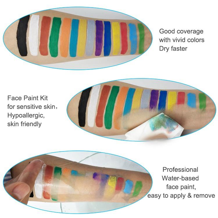 Party glow neon gesicht und körper malen in gesicht malen set mit Schablonen Pinsel Multi Farbe