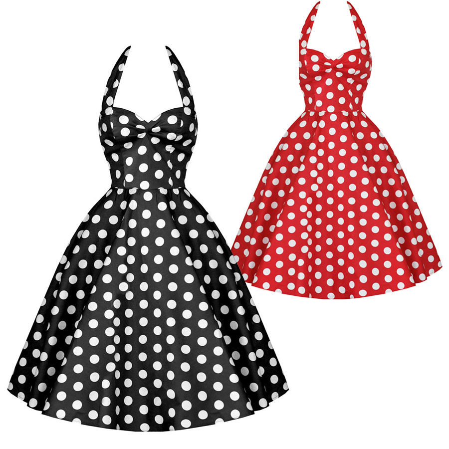 8a7cd6624733a free shipping Fashion 50s vintage slim polka dot cotton one-piece dress red  black sexy party dress for women