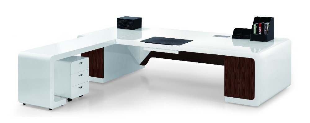 2015 brillant blanc mobilier moderne table de bureau - Table bureau blanc ...